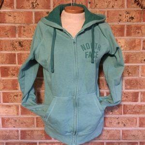 The North Face medium sage green zip up hoodie